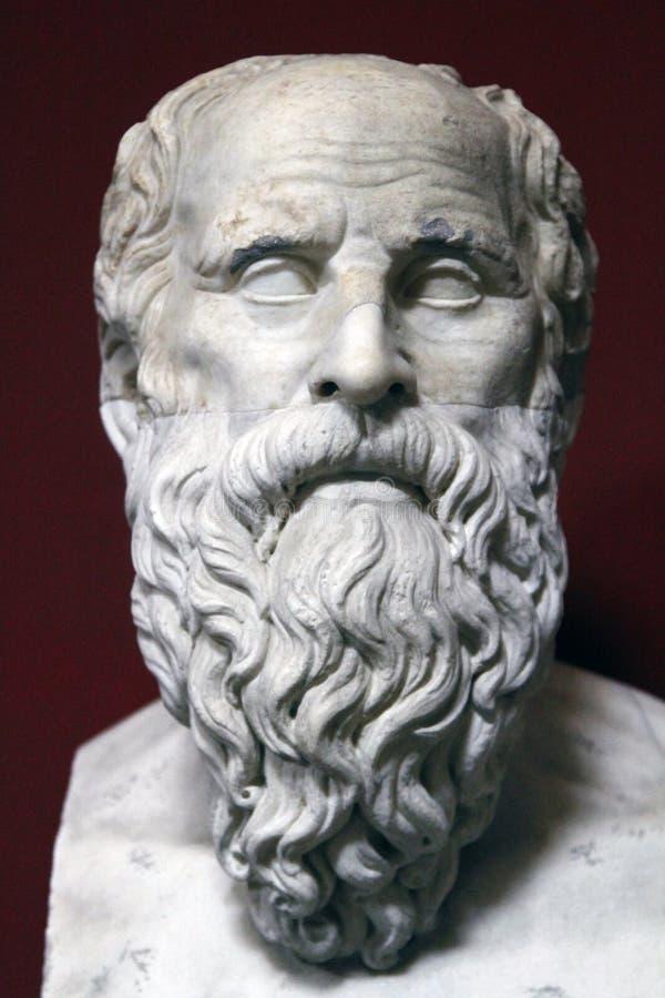 Estátua antiga do busto de Socrates fotografia de stock