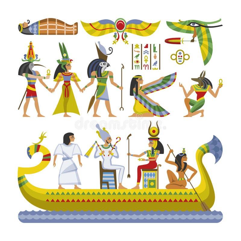 Estátua antiga dos anubis do ra do deus da mulher do homem do caráter egípcio do faraó do vetor no barco da cultura de Egito hist ilustração royalty free