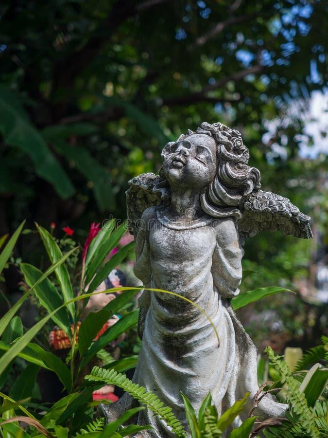 Estátua bonita do ângulo do cimento do encanto do vintage do close up no garde imagens de stock royalty free