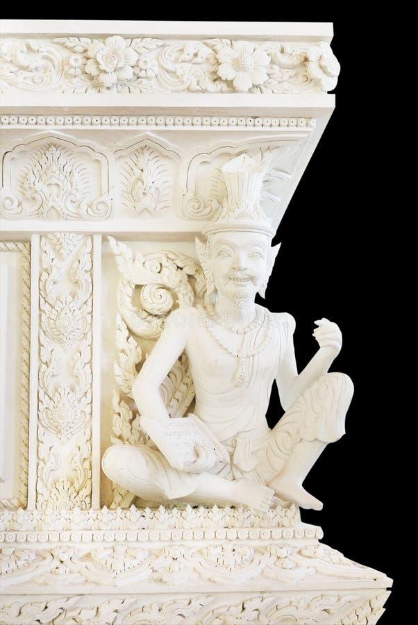 Estátua branca do recluso no templo imagens de stock royalty free