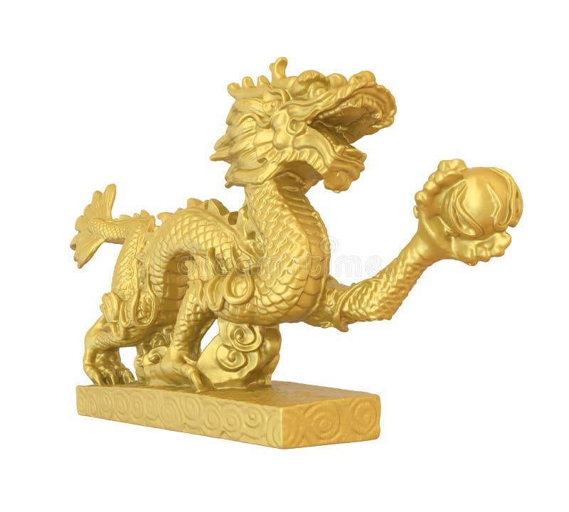 Estátua chinesa do dragão isolada ilustração do vetor