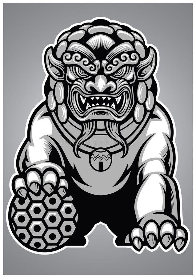 Estátua chinesa do leão ilustração stock