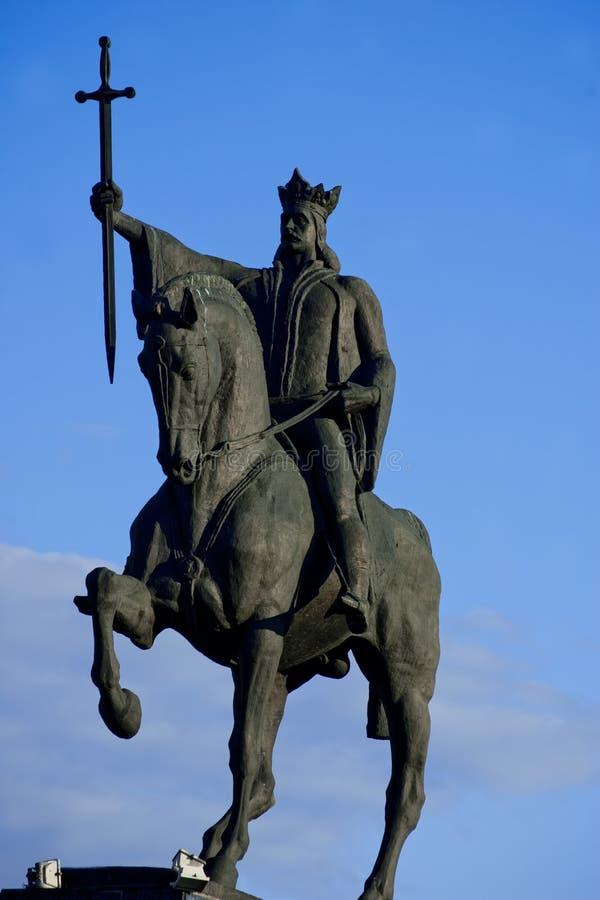 Estátua da égua de Stefan cel que monta seu cavalo foto de stock