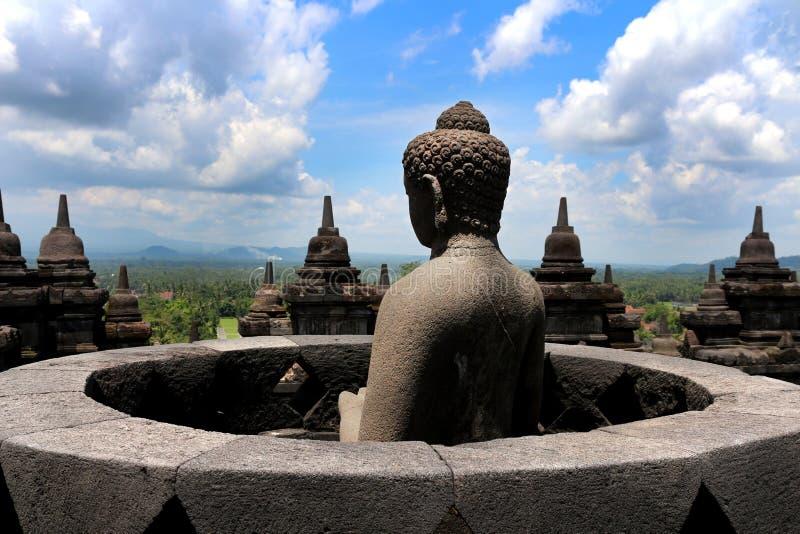 Estátua da Buda em Borobudur foto de stock royalty free