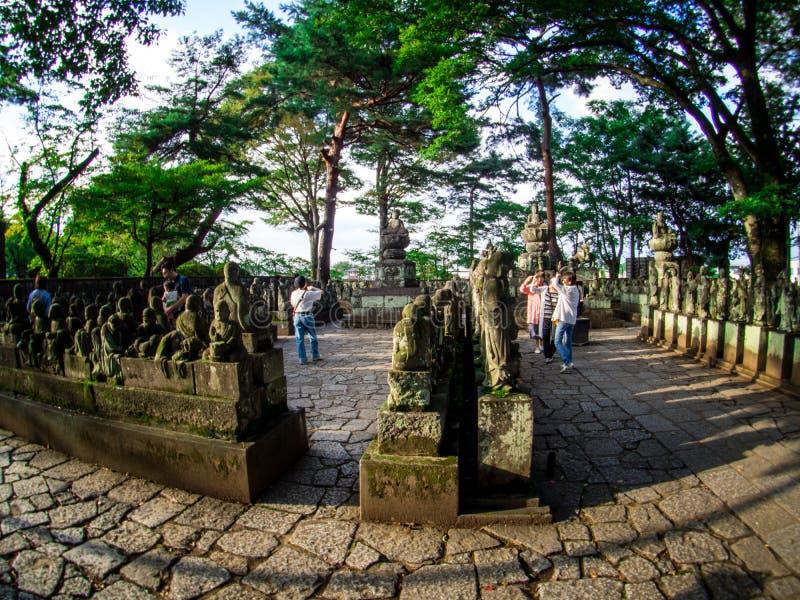 Estátua da Buda 500 no templo de Kitain em Kawagoe, Japão, em setembro de 2018 fotos de stock