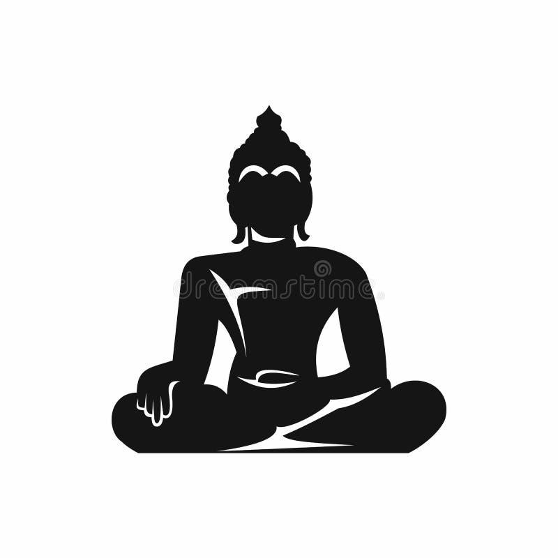 Estátua da Buda que senta-se no ícone da pose dos lótus ilustração stock