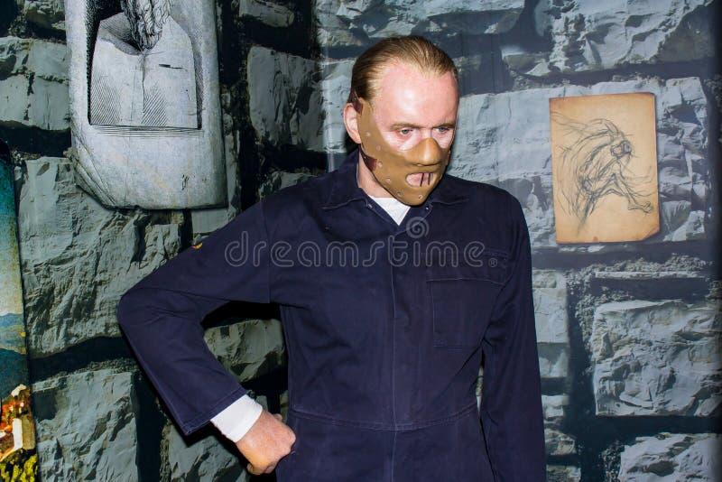 Estátua da cera de Hannibal Lecter, Amsterdão da senhora Tussaud fotos de stock