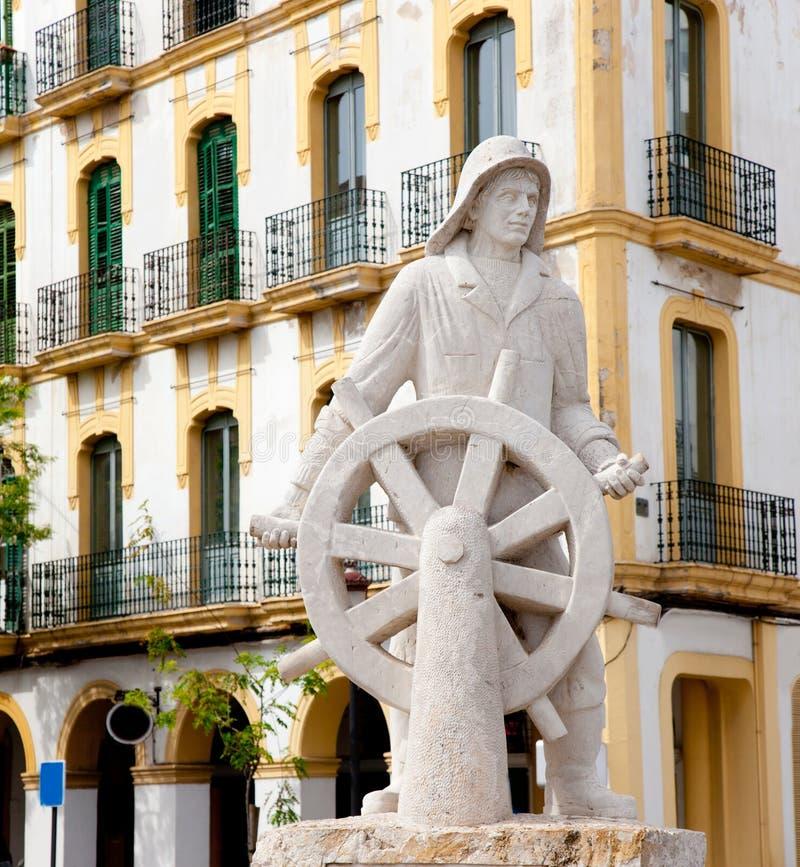 Estátua da cidade do ibiza de Eivissa dedicada a todo o marinheiro fotos de stock royalty free