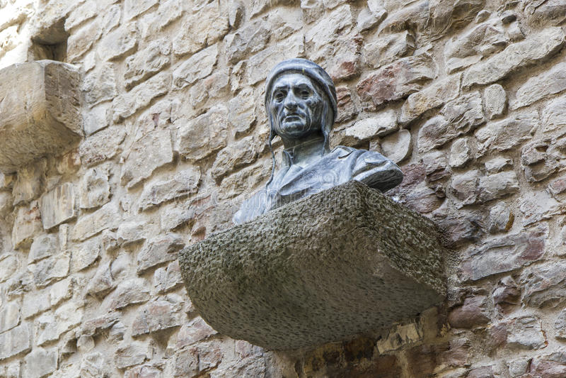 Estátua da estátua de Dante Alighieri foto de stock