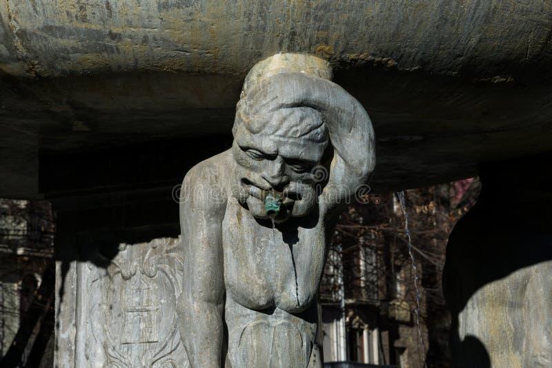 Estátua da fonte no babador Rambla Quadrado Plaza de Babador Rambla imagens de stock royalty free