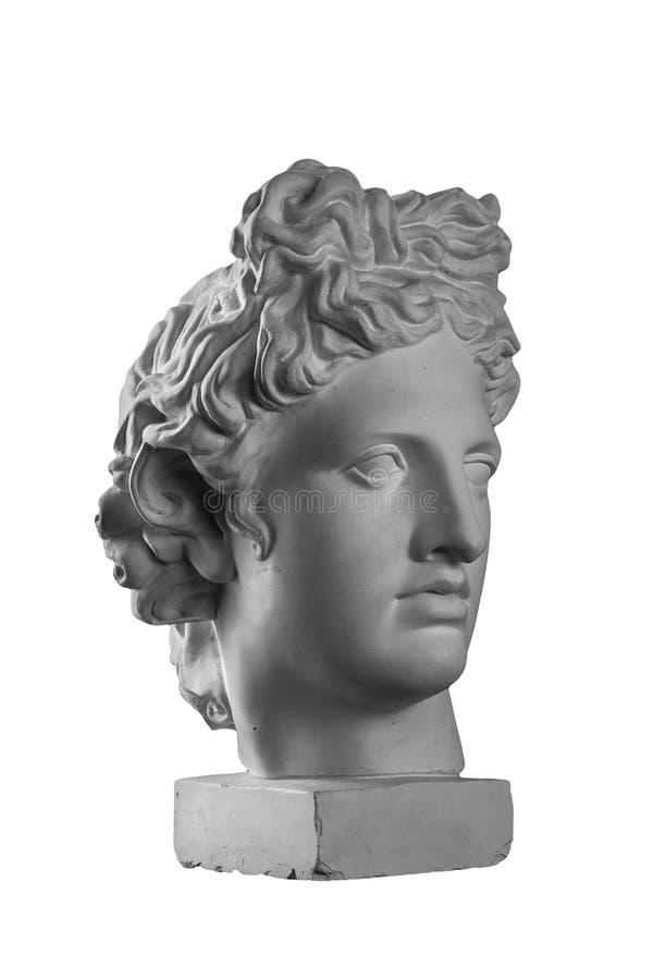 Estátua da gipsita da cabeça do ` s de Apollo fotos de stock