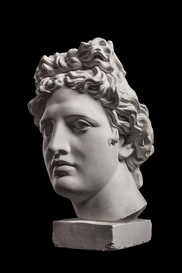 Estátua da gipsita da cabeça do ` s de Apollo foto de stock royalty free