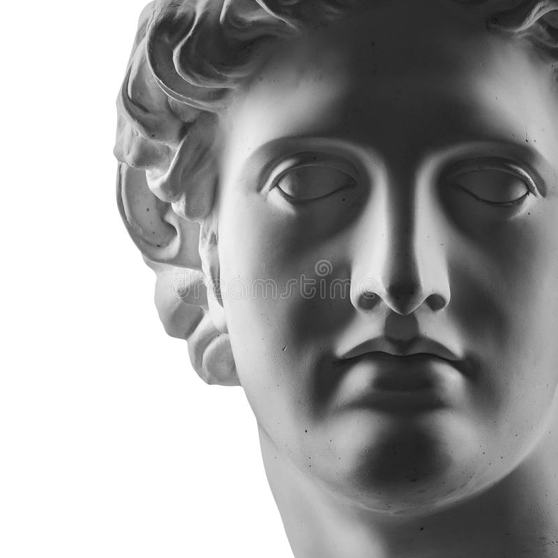 Estátua da gipsita da cabeça do ` s de Apollo fotos de stock royalty free