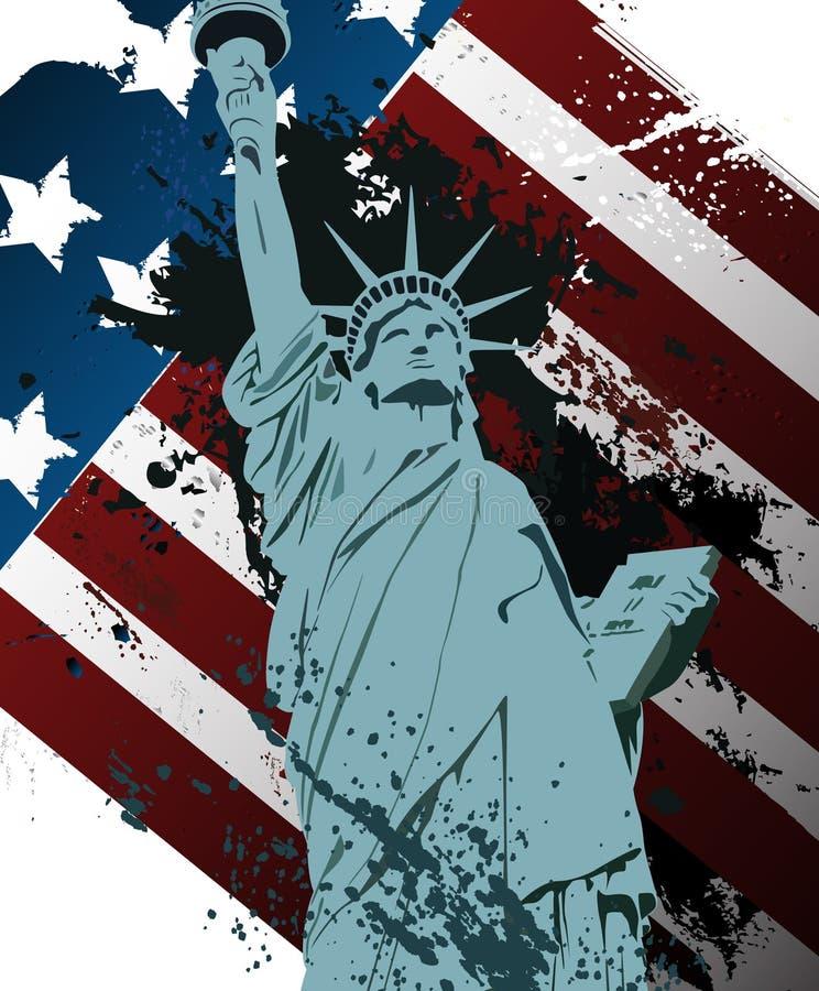 Estátua da liberdade do Grunge ilustração do vetor