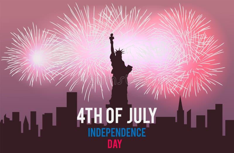 Estátua da liberdade e fogos-de-artifício na paisagem da cidade da noite ô julho Dia da Independência de América Ilustração do ve ilustração stock