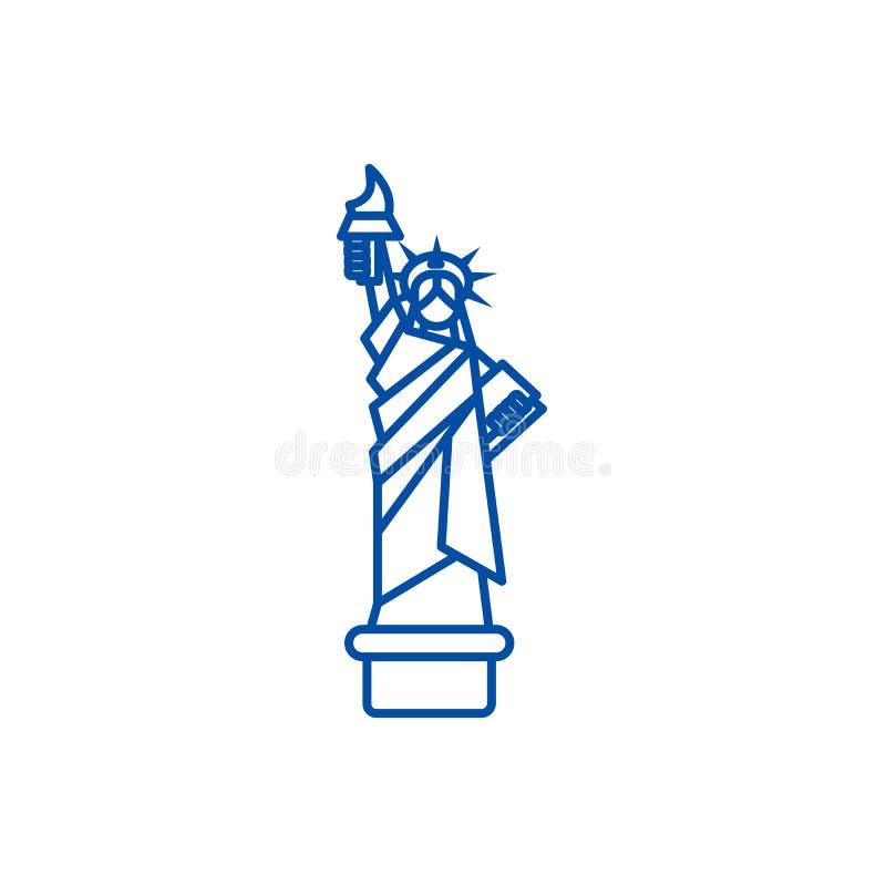 Estátua da liberdade, linha conceito de New York do ícone Estátua da liberdade, símbolo liso do vetor de New York, sinal, ilustra ilustração do vetor