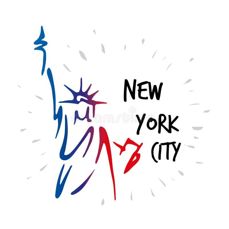 Estátua da liberdade na ilustração americana do vetor da silhueta do símbolo do marco de New York City ilustração stock