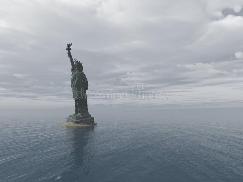 Estátua da liberdade na inundação do apocalipse ilustração do vetor