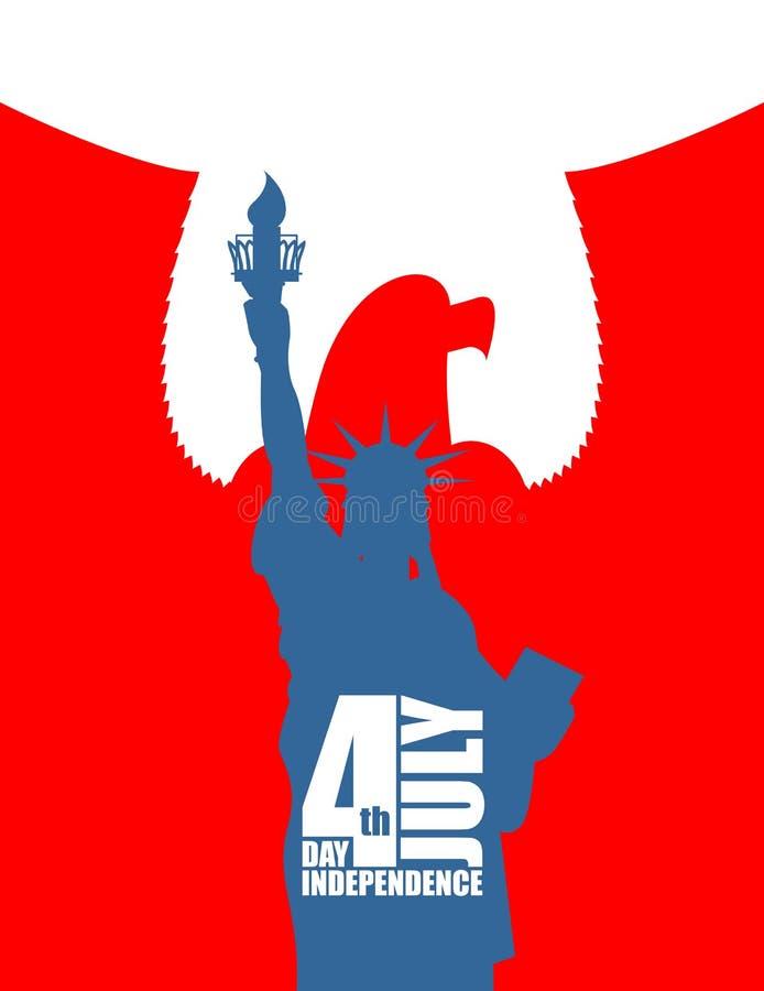 Estátua da liberdade no fundo da águia vermelha Americano Independe ilustração royalty free