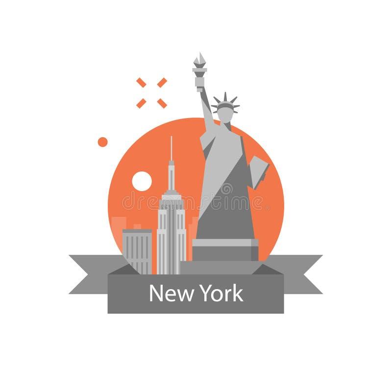 Estátua da liberdade, símbolo de New York, destino do curso, marco famoso, Estados Unidos da América, conceito inglês da educação ilustração do vetor