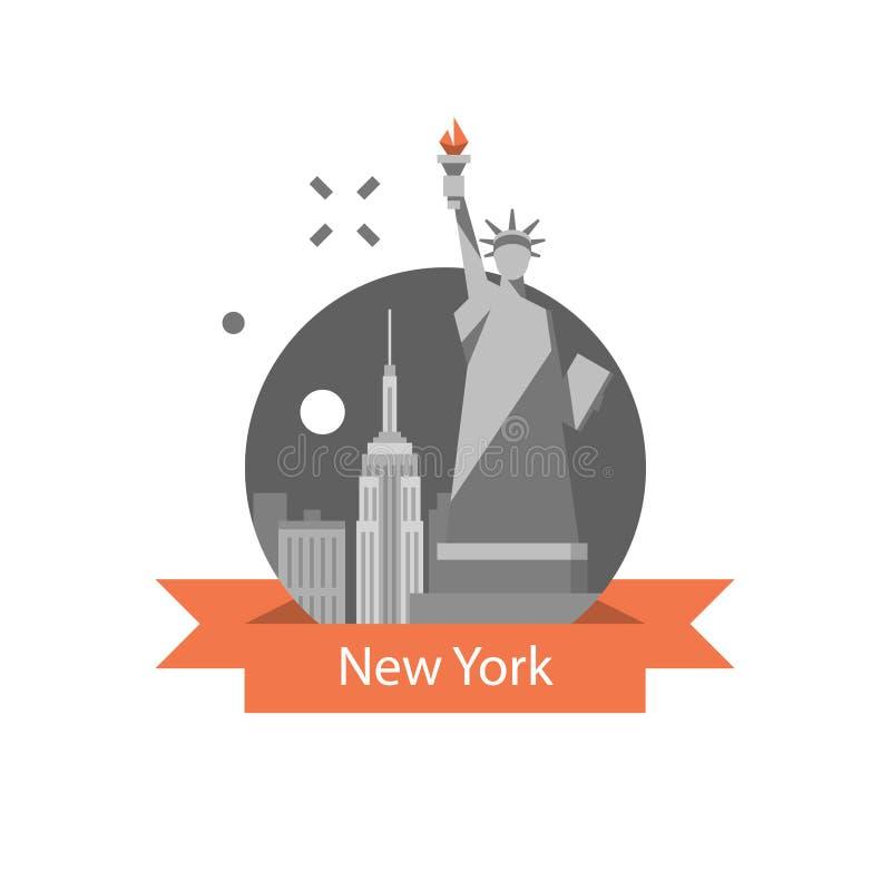 Estátua da liberdade, símbolo de New York, destino do curso, marco famoso, Estados Unidos da América, conceito inglês da educação ilustração royalty free