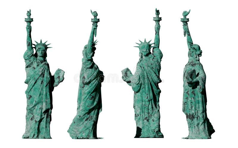 Estátua da liberdade velha apocalíptico 4 vistas Isolado no fundo branco 3d rendem ilustração stock