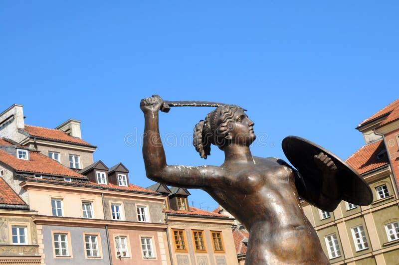 Estátua da sereia, cidade velha em Varsóvia, Poland fotografia de stock royalty free