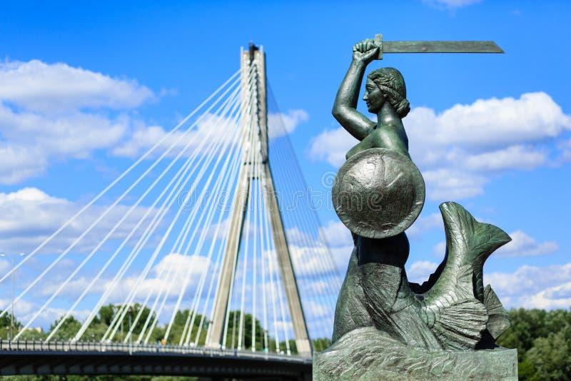 Estátua da sereia de Varsóvia imagem de stock royalty free