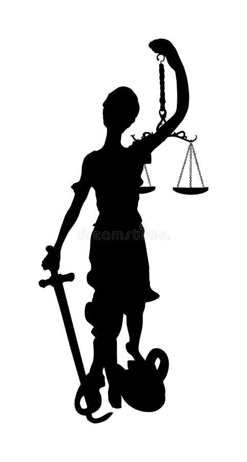 Estátua da silhueta do símbolo de justiça ilustração royalty free