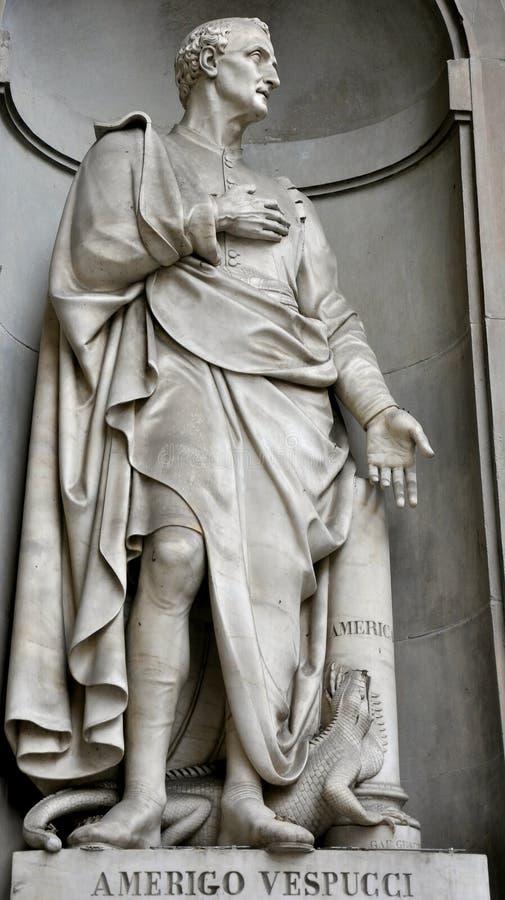 Estátua de Amerigo Vespucci imagem de stock