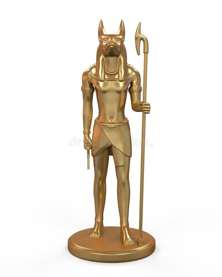 Estátua de Anubis do egípcio ilustração do vetor