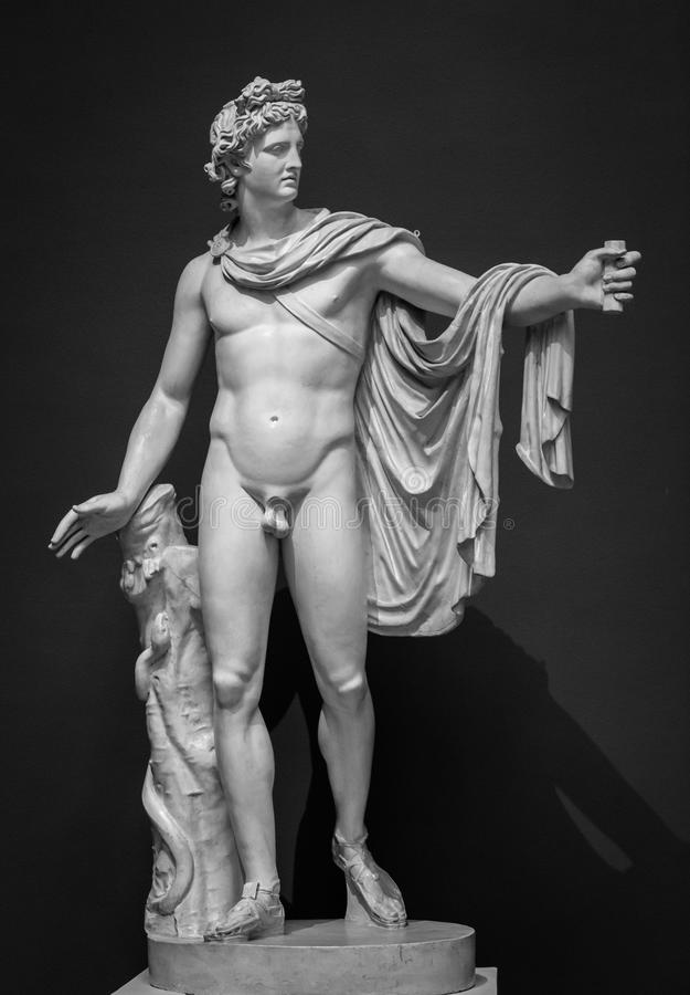 Estátua de Apollo Belvedere imagens de stock royalty free