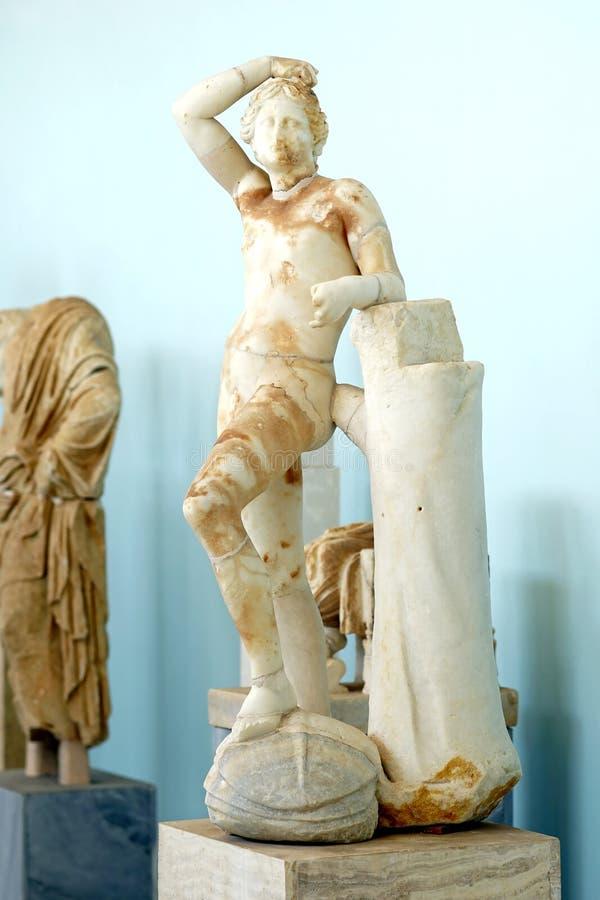 Estátua de Apollo, museu arqueológico de Delos, Myconos, Cyclades imagens de stock royalty free