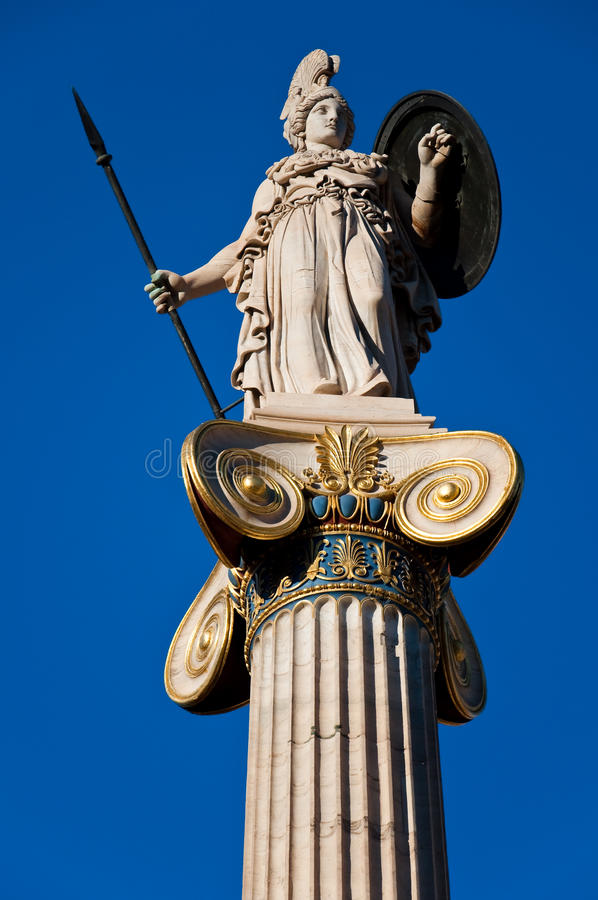 A estátua de Athena. Atenas, Grécia. fotografia de stock