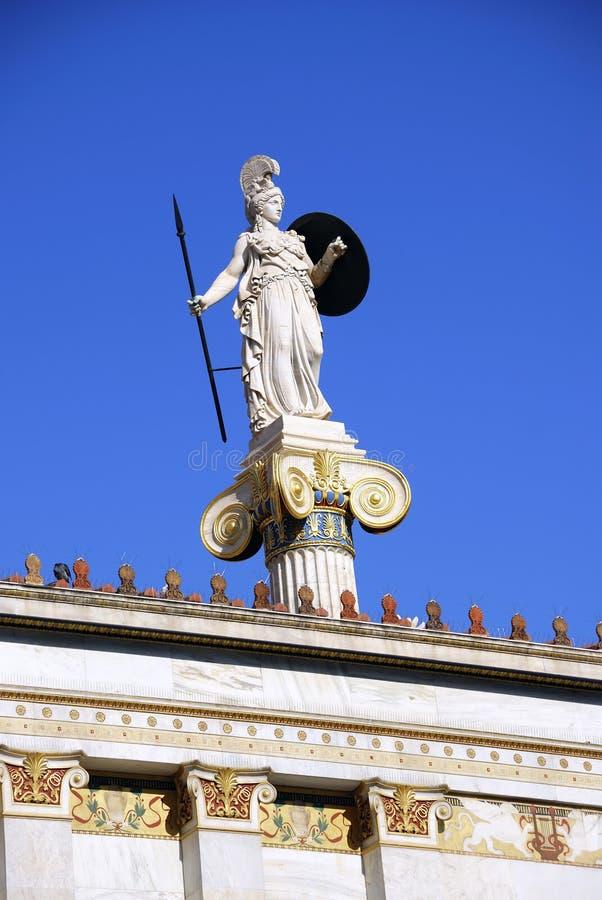 Estátua de Athena (Minerva) (Atenas, Greece) foto de stock