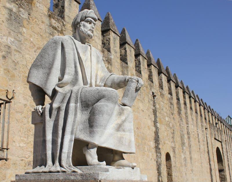Estátua de Averroes em Córdova fotos de stock royalty free