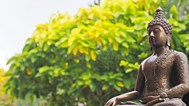 Estátua de bronze da imagem da Buda no ambiente calmo do jardim fotografia de stock