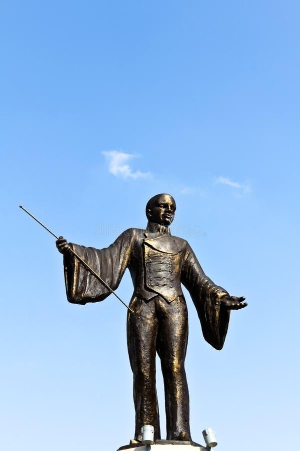 Estátua de bronze do ringmaster foto de stock