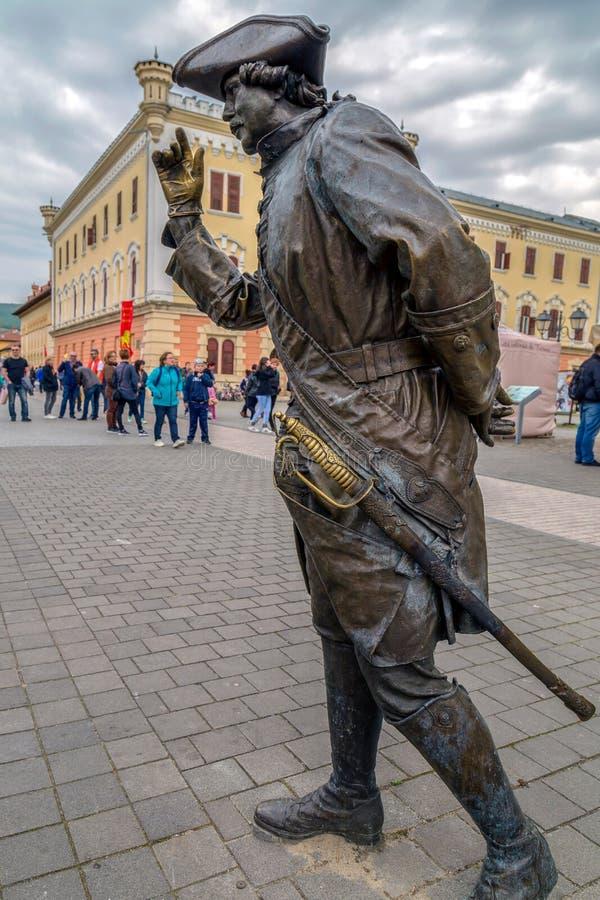 Estátua de bronze em Alba Iulia, Romênia fotos de stock royalty free