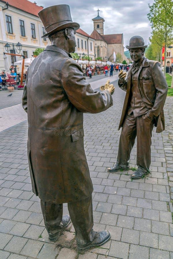 Estátua de bronze em Alba Iulia, Romênia imagens de stock royalty free
