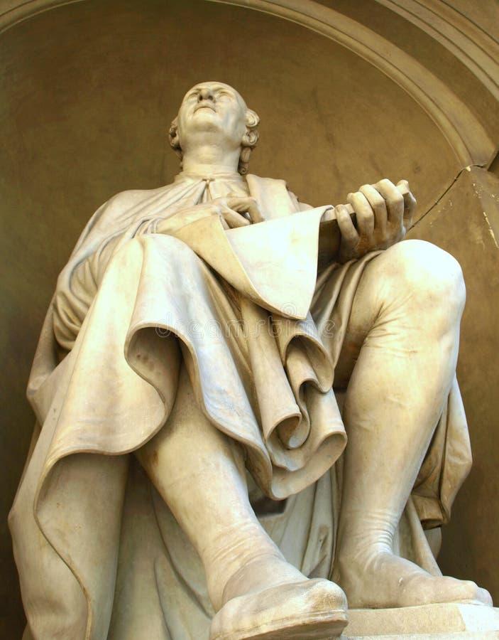 Estátua de Brunelleschi, abóbada de Florença, Itália fotografia de stock royalty free