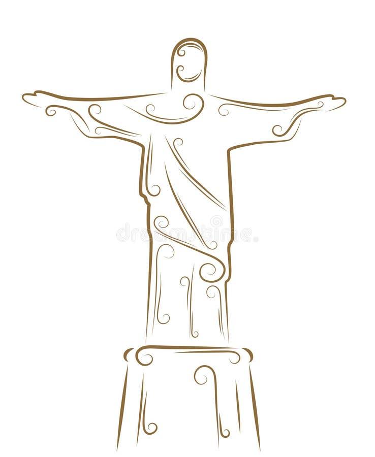 Estátua de Christ o Redeemer ilustração royalty free