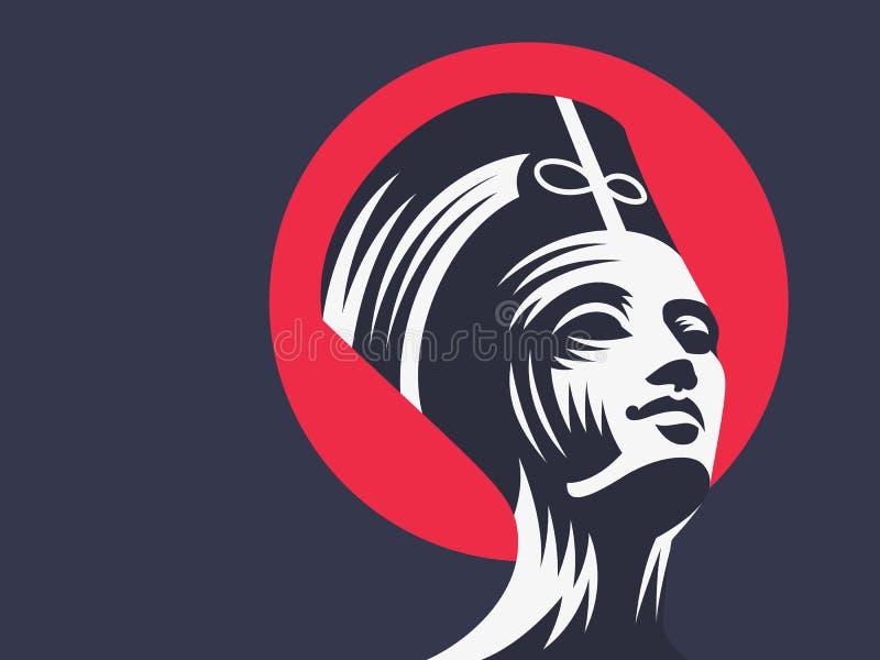 Estátua de Cleopatra ou de Nefertiti ilustração stock