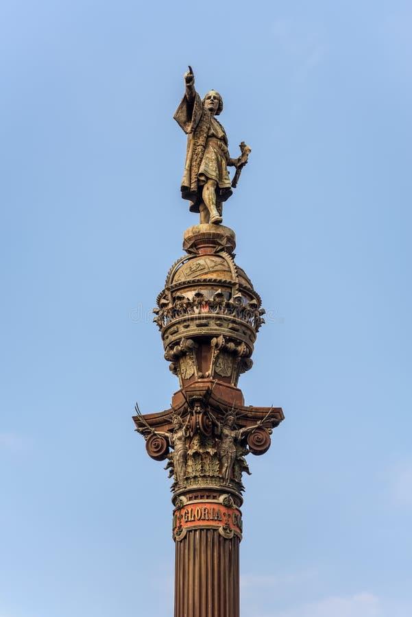 Estátua de Columbo em Barcelona, Espanha imagem de stock