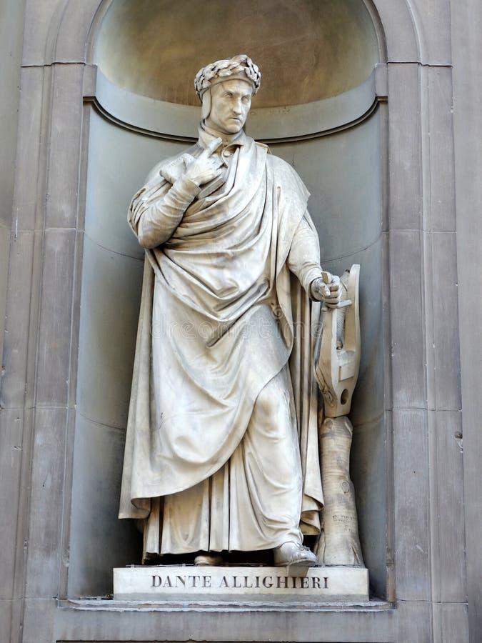 Estátua de Dante fotos de stock royalty free