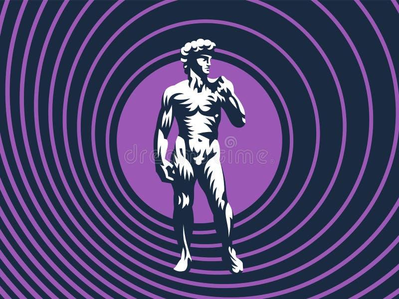 Estátua de David ou de Apollo ilustração stock