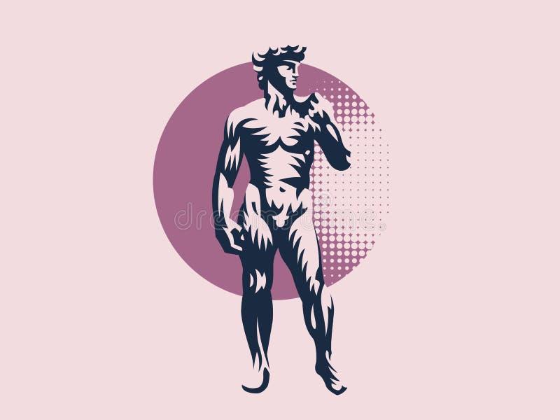 Estátua de David ou de Apollo ilustração royalty free