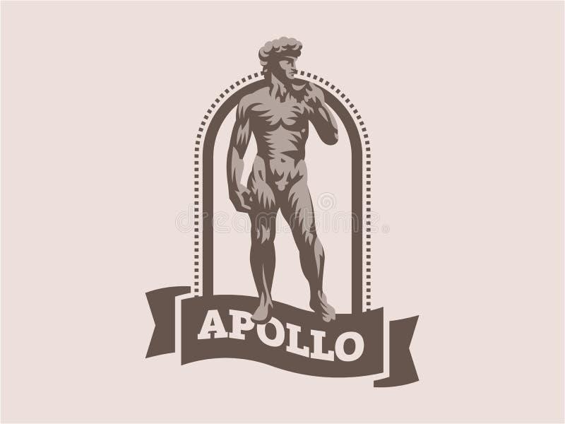 Estátua de David ou de Apollo ilustração do vetor