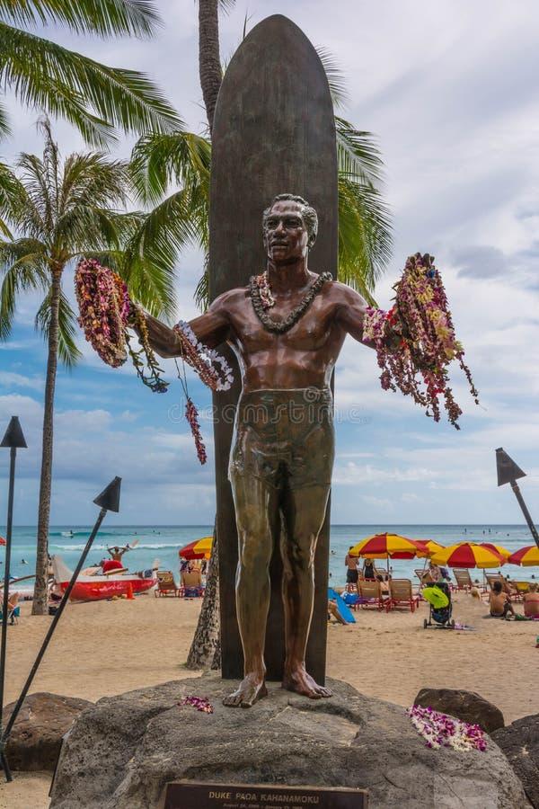 Estátua de Duke Kahanamoku, Waikiki fotografia de stock
