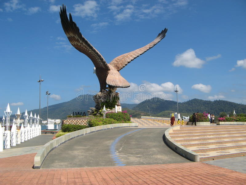 Estátua de Eagle em Kuah - capital de Langkawi, Malásia fotografia de stock royalty free
